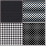 Set of four backgrounds. Abstract, dotted and metal textures Royalty Free Stock Images