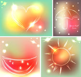 Set of four backgrounds or greeting cards with heart, umbrella, watermelon and sun in beautiful colors Royalty Free Stock Photos