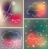 Set of four backgrounds or greeting cards with umbrellas, clouds and hearts in beautiful colors. Vector illustrations, sketches Stock Photos