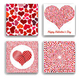 Set of four backgrounds with red hearts. Symbol of love. Elements for wedding template Royalty Free Stock Photos