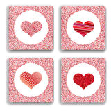 Set of four backgrounds with red hearts. Symbol of love. Stock Image