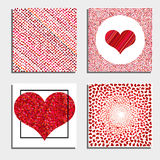 Set of four backgrounds with red hearts. Symbol of love. Elements for wedding template Royalty Free Stock Image