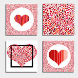 Set of four backgrounds with red hearts. Symbol of love. Elements for wedding template Stock Images