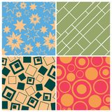 Set of four backgrounds. Stars circles squares. Vector illustration Royalty Free Stock Photos