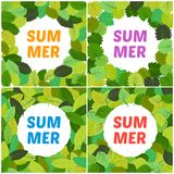 Set of four backgrounds with summer leaves with inscription summer. In the center. Vector illustration Royalty Free Stock Photo