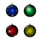 A set of four balls. Set of four balls with snowflakes on a white background Royalty Free Stock Photos