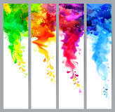 Set of four banners, abstract headers with colored blots. Bright spots and blur. Set of four holi banners, abstract headers with colored splash blots. Bright Stock Images