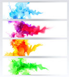 Set of four banners, abstract headers with colored blots. Bright spots and blur. Set of four banners, abstract headers with colored blots. Bright spots and blur Stock Images