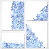 Set of four banners, headers with blue blots Royalty Free Stock Image