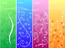 Set of four banners with seasons Stock Photos