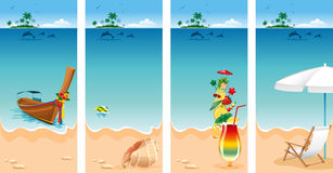 Vacation set. Set of four banners on vacations theme. Relaxing scene on a breezy day at the tropical beach royalty free illustration