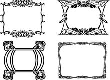 Set Of Four Baroque Black Frames Stock Image