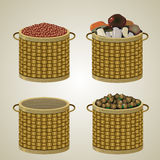 Set of four baskets. Royalty Free Stock Photo
