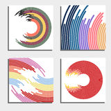 Set of four beautiful abstract backgrounds. Abstract flash light circles. Royalty Free Stock Image