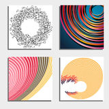 Set of four beautiful abstract backgrounds. Abstract flash light circles. Stock Images