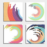 Set of four beautiful abstract backgrounds. Abstract flash light circles. Royalty Free Stock Photos