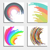 Set of four beautiful abstract backgrounds. Abstract flash light circles. Stock Photography