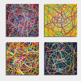 Set of four beautiful abstract backgrounds  with moving colorful lines. Bright background of curves lines with a lot of colors. Vector illustration Royalty Free Stock Photos