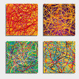 Set of four beautiful abstract backgrounds  with moving colorful lines. Bright background of curves lines with a lot of colors. Vector illustration Royalty Free Stock Photography