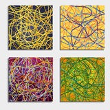 Set of four beautiful abstract backgrounds  with moving colorful lines. Bright background of curves lines with a lot of colors. Vector illustration Stock Photos