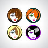 Set of four beautiful female face girl Stock Photography