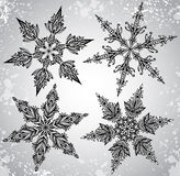 SEt of four beautiful hand drawn ornamental doodle snowflakes Royalty Free Stock Image