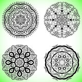 Set with four beautiful Mandalas. Vector ornaments, round decorative elements for your design Stock Photography