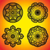 Set with four beautiful Mandalas. Vector ornaments, round decorative elements for your design Royalty Free Stock Images