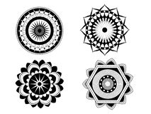 Set of four beautiful vector mandalas. Decoration, ornaments with floral round shapes. Stock Image