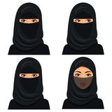 Set four beautiful young saudi woman portrait in black hijab in different face: looking left and right, closed face veil. Stock Images
