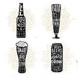 Set of four beer themed typographical badges with quotes. Inside the different objects: bottle, mug, glass, beer can. Vector illustration Stock Photos