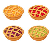 Set of four berry crumble pies. Vector illustration. royalty free illustration