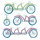 Set of four bicycles. Unicycle, tricycle, tandem bike, bicycle. Vector illustration Royalty Free Stock Photography