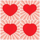 Set of four big Red Hearts. Romantic love symbol of valentine day. Vector illustration Royalty Free Stock Image