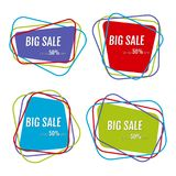Set of four big sale stickers with abstract colorful chaotic lines around. Vector illustration Stock Photography