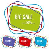 Set of four big sale stickers with abstract colorful chaotic lines around. Vector illustration stock illustration