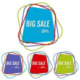 Set of four big sale stickers with abstract colorful chaotic lines around. Vector illustration royalty free illustration