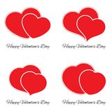 Set of four big and small red hearts. Romantic love symbol of valentine day. Vector illustration Royalty Free Stock Photography
