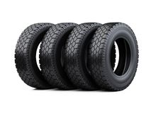 Set of four big vehicle truck tires stacked. New car wheels. stock illustration