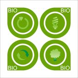 Set of four Bio Label Royalty Free Stock Image