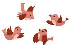 Set of four birds - vector Stock Image