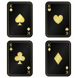 Fun set Four black card king with gold royalty free illustration