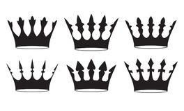 Set of four black crowns for heraldry design on white background.  Royalty Free Stock Photography