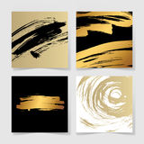 Set of four black and gold ink brushes grunge square pattern Stock Images