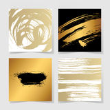 Set of four black and gold ink brushes grunge square pattern Royalty Free Stock Images