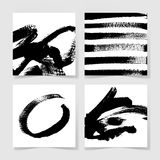 Set of four black ink brushes grunge square pattern, hand drawin Stock Photography