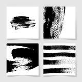 Set of four black ink brushes grunge square pattern, hand drawin Royalty Free Stock Photography
