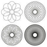 Set of four black line spirograph abstract elements Royalty Free Stock Photo