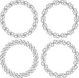 Set of four black round frames for your design.  Stock Photo