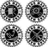 Set of four black rubber stamp solid style Hand made labels. Set of four black rubber stamp solid style Hand made labels for your design Royalty Free Stock Photography